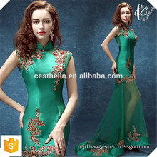 2016 OEM Services Gorgeous Lace Embroidery Sleeveless Elegant Green Trumpet Evening Dress Mermaid Fishtail Maxi Dress