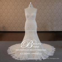 Хороший трогательный популярные очаровательная глубокий V-шея & V-образным вырезом свадебное платье с кружевом Русалка