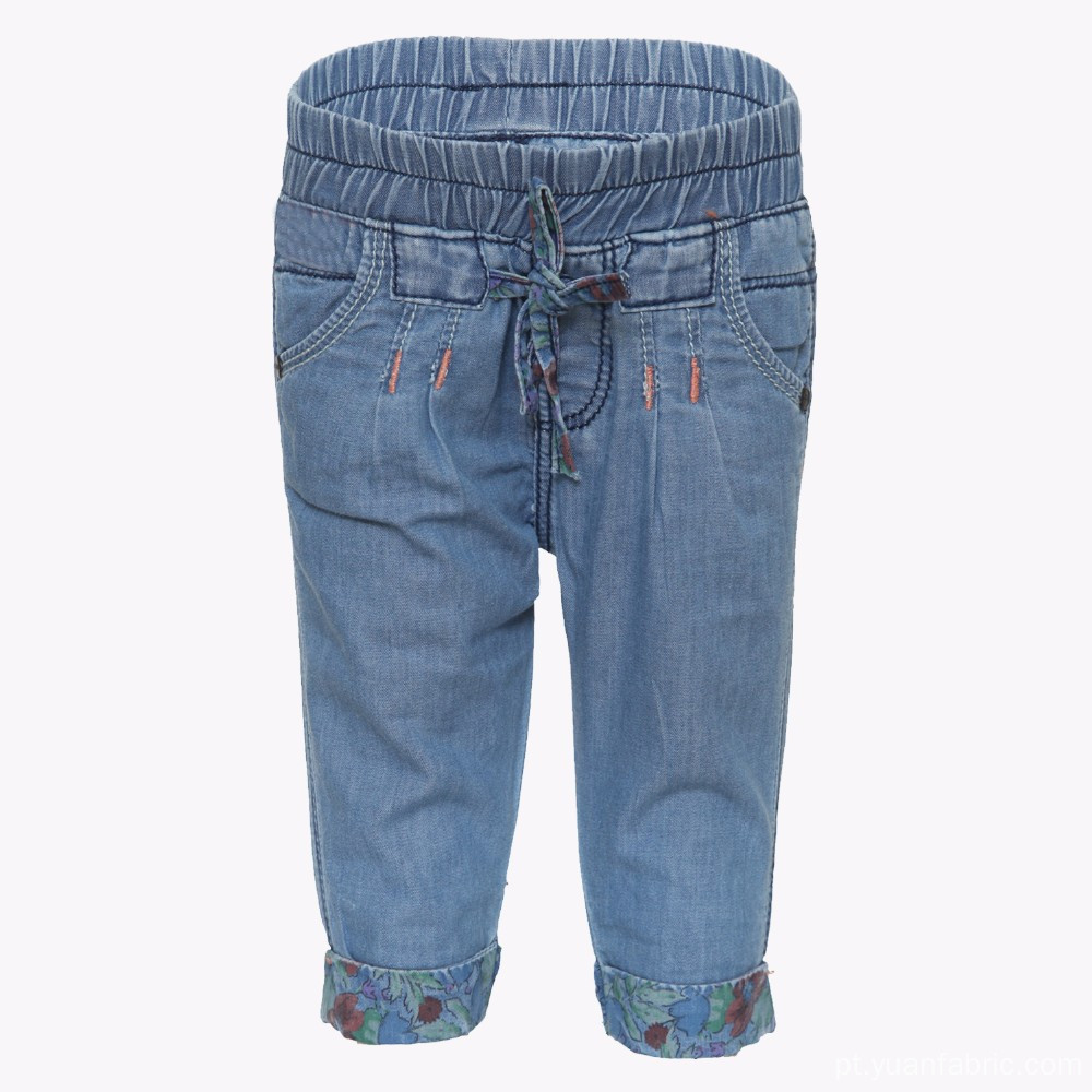 Calças Capri Infantis Light Blue Denim Jeans