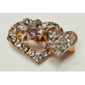 2.8cm Heart&Flower Alloy Buckles with Rhinestone, Chic Metal Accessories