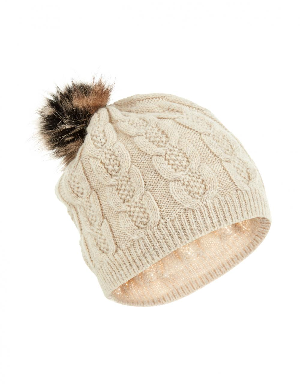 Kensington Cable Fur Pom Beanie Hat