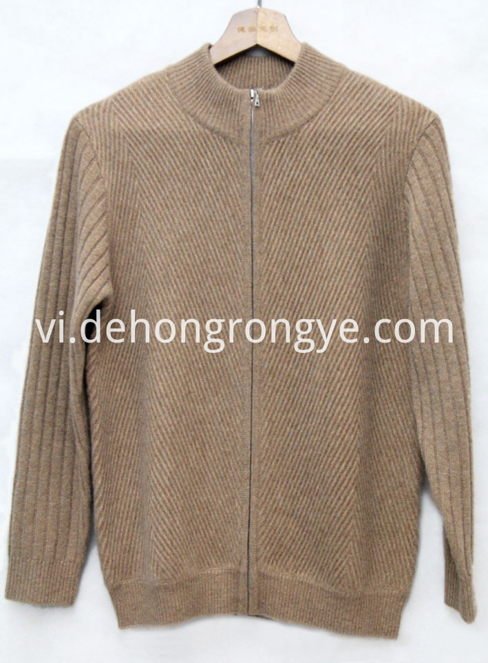 Camel Semi High Collar Zipper Cashmere Cardigan