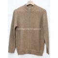 Semi-high collar zipper cashmere cardigan