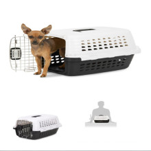 carrier pet kennel plastic pets chrome door metallic white black cat dog crate