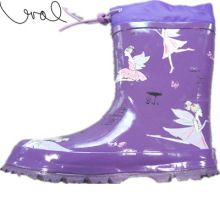 Fashion Purple Girls Rubber Rain Middle Calf Boots (66940)