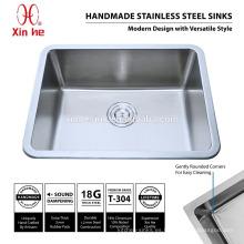 Fregadero de cocina de acero inoxidable R25 con cuenco hondo, Tapas de cocina de acero inoxidable bajo encimera de un tazón australiano