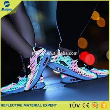 Material reflectante de malla de alta visibilidad para zapatos