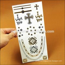 2015 popular high quality gold and silver temporary tattoo sticker