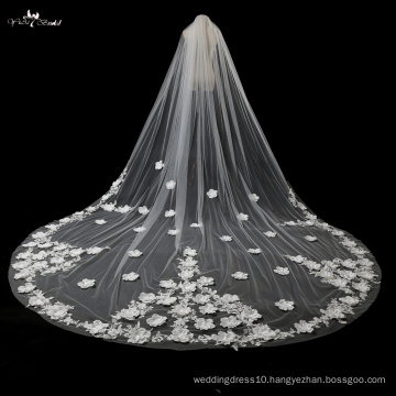 TA027 3D Fowers 5 Meters With Comb Bridal Veil