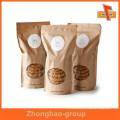 Humedad a prueba de humedad frente papel kraft transparente resellable stand up bolsas al por mayor para alimentos secos