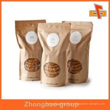 Feuchtigkeitsbeständige benutzerdefinierte gedruckte wiederverschließbare Kraftpapier Stand up Verpackung Taschen für Cookies