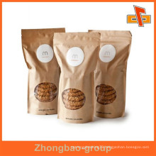moisture proof custom printed resealable kraft paper stand up packaging bags for cookies