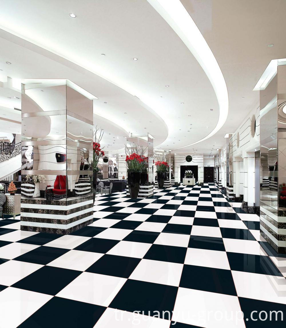 Black & White Polished Porcelain Tile