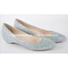Sapatos de casamento 2016 moda diamante sapatos de mulheres planas (hcy02-663)