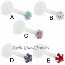 Clear Bioplast Star CZ Prong Set Stone Monroe Piercing Jewelry