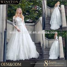 Fábrica profissional chinesa do vestido de noiva com mangas de ombro