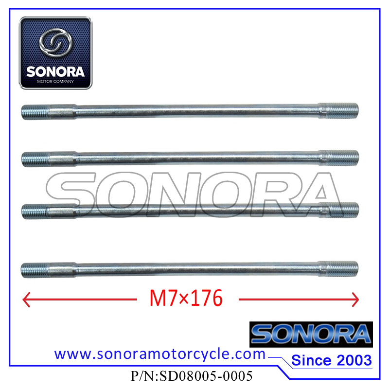SD08005-0005 139QMA GY6-50 Cylinder Head Long Studs (M7×176)
