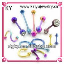 Best seller 100pcs 10styles atacado colorido cirúrgico aço lotes jóias corpo