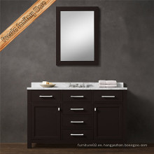 Gabinete de baño de madera maciza de acabado oscuro de mármol