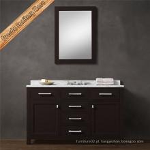 Armário de banheiro de madeira maciça de acabamento escuro de mármore