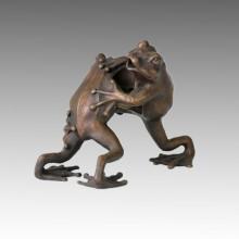 Animal estatua doble ranas luchar escultura de bronce Tpal-046
