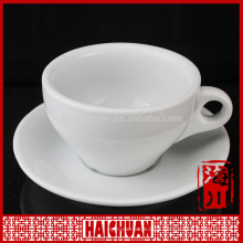 280cc plain white porcelain tea cup and saucer wholesale for hotel and restaurant