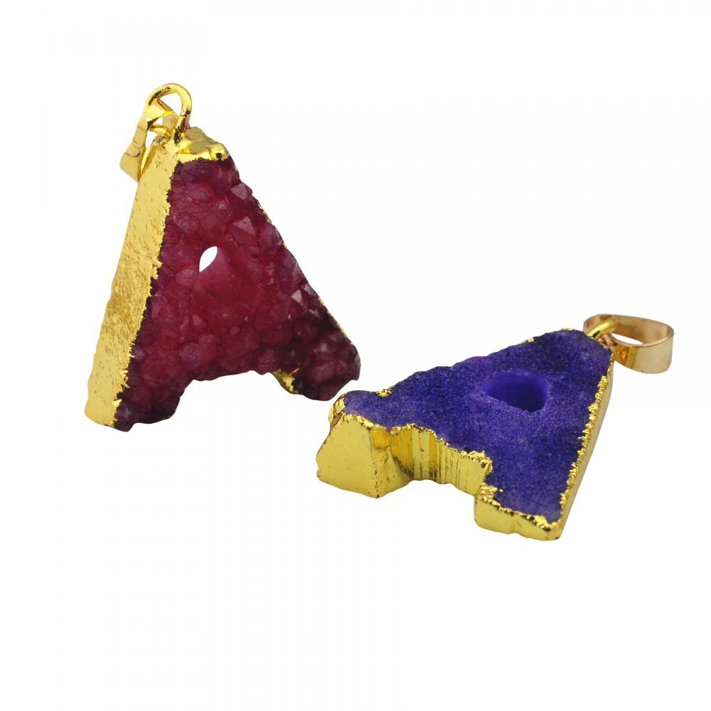 Plated Cold Colorful Alphabet Letter Shape Natural Crystal Pendant