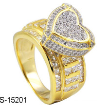 Moda jóias 925 prata micro pave configuração anéis. (Rhodium e cor de ouro 14k)