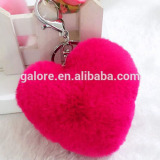 fashion pink color wholesale heart fur keychain for bag