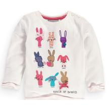 Cute Baby T-Shirt with Long Sleeve in O-Neck Children Clothes Sq-17106