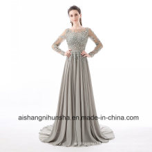 Beading Crystal Formal Long Sleeve Sexy Backless Evening Dresses
