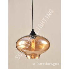 1-light amber glass cloche filament pendant chandeliers #2074