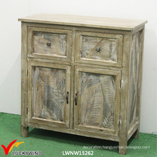 Leaves Printing 4 Drawers Wooden Storage Cabinets