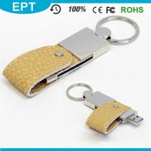 2015 Nova chaveiro de couro giratória USB Flash Drive (EL007)