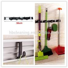 Soporte de 4 posiciones para mopas y escobas flexibles de aluminio con soporte para pared w / 3 ganchos