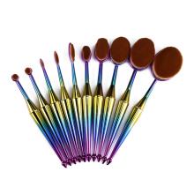 Juego de brochas de maquillaje ovalado colorido de 10 piezas