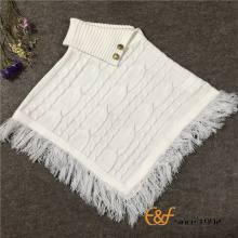 Uneven Fold Neck Design Pullover Sweater Poncho