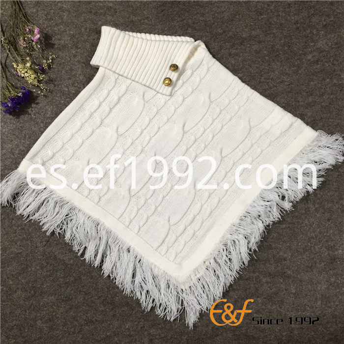 Uneven Fold Neck Sweater Poncho