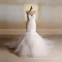 Luxury bling beads sweet heart bottom tulle wedding dress feathers on the straps