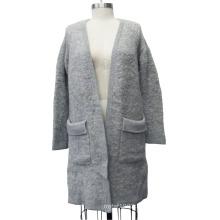 Длинный рукав V Шея кардиган Длинный свитер женщин с карманными