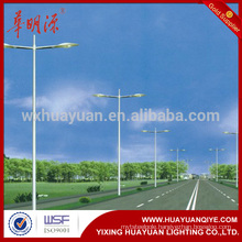 Customized double arm street lamp post sample hot dip galvanized double arm street ligth pole