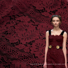 Encaje Chantilly Algodón Floral Rojo