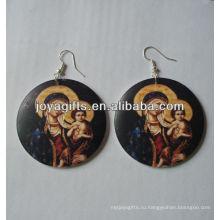 Деревянные круглые серьги Печать Иисус серьги