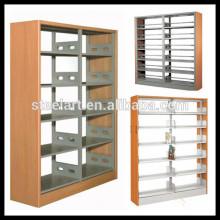Doppelseitenmetallschulbibliothek moderner Wandmetallbücherregal