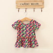 afrikanische Muster Kleidung Mädchen beliebte Sätze rote Baumwolle T-Shirts Polyester Shorts