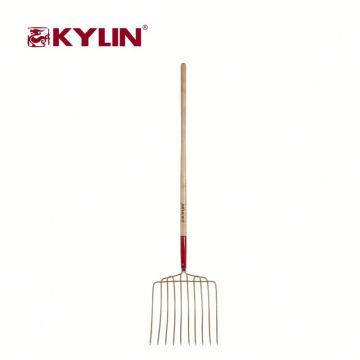 Les outils d'agriculture de prix bas ont forgé la poignée de bois dur de fourchette d'acier au carbone de forge