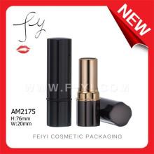 Elegant Square Empty Aluminium Lipstick Black Matte Packaging