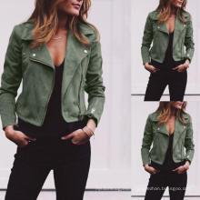 New Season Design Trending Stylish Popular Fall Autumn Zipper PU Ladies Leather Jackets