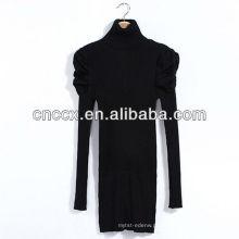 12STC0647 sopro manga gola alta camisola vestido