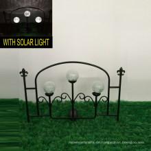 3 Glasball Solarleuchten Metall Garten Dekoration Zaun Handwerk